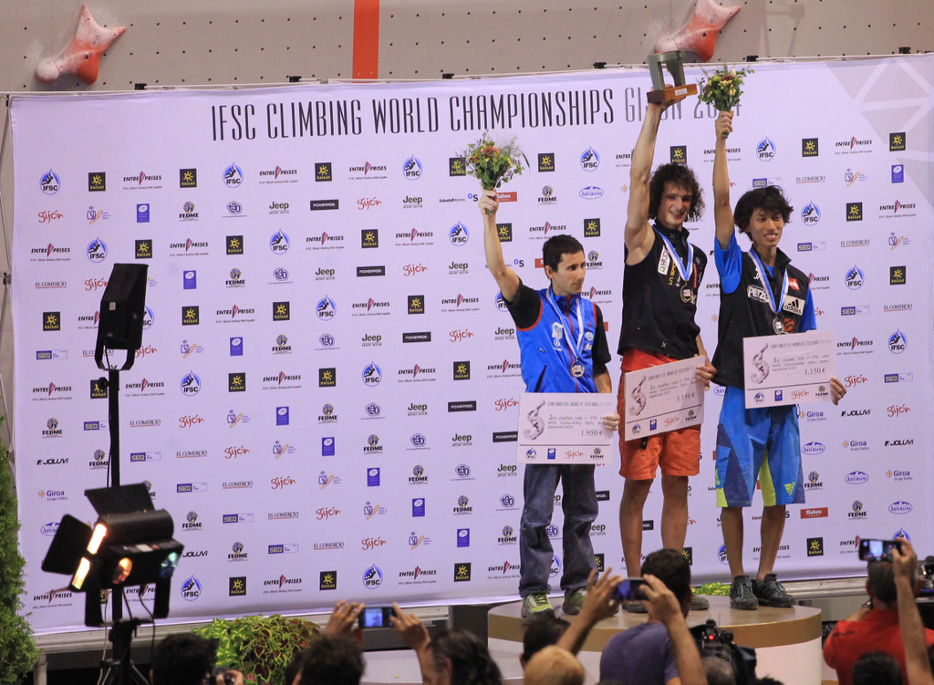 On the podium