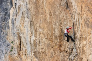 Nicola making the difficult clip on  the 'Clasica del Muro Techo' 6a, Muro Techo Teverga