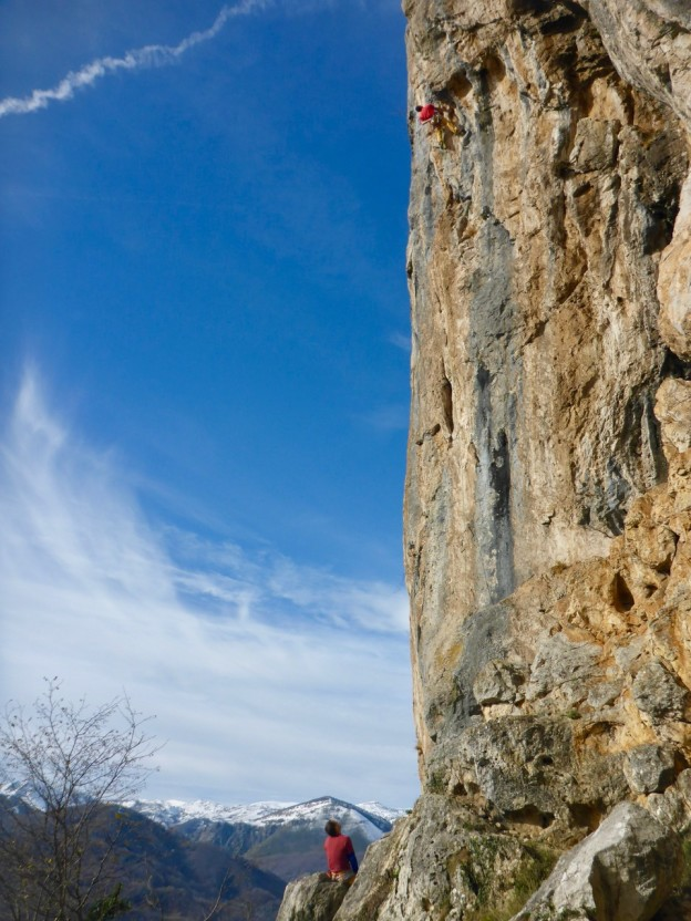 Jairo on a great 7a at Muro Techo, Teverga